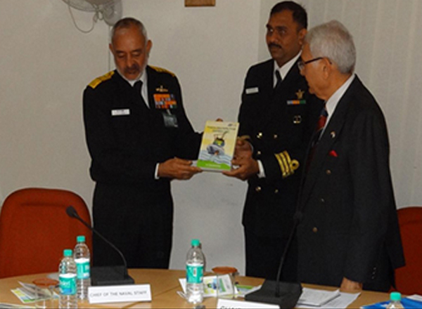 Chief of Naval Staff Admiral DK Joshi releasing the Book in the presence of Admiral (retd.) Sureesh Mehta, Chairman, National Maritime Foundation.