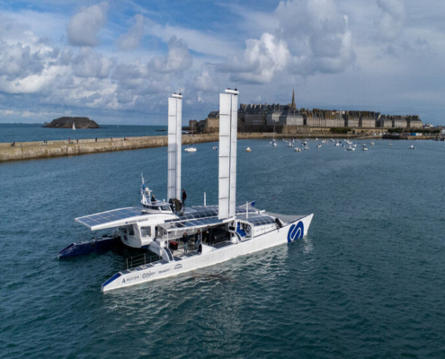 Energy Observer, launched in April 2017, is the first vessel in the world to both generate and be powered by hydrogen, relying on a renewable energy mix for onboard production.