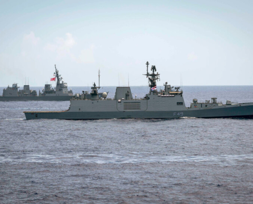 180615-N-ZL062-0077 PHILIPPINE SEA (June 15, 2018) The Indian navy Shivalik-class stealth multi-role frigate INS Kamorta (F49) and the Japan Maritime Self-Defense Force Akizuki-class destroyer JS Fuyuzuki (DD 118) are underway in formation during exercise Malabar 2018. Malabar 2018 is the 22nd rendition of the exercise and the first time is has been hosted off the coast of Guam. Malabar is designed to advance military-to-military coordination in a multinational environment between the U.S., Japan and Indian maritime forces. (U.S. Navy photo by Mass Communication Specialist 2nd Class Sarah Myers/Released)