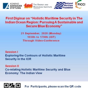 """Quadrilateral Diginar Series on Blue Economy-India's Pathway to a Sustainable, Secure and Resilient Economy First Diginar on """"Holistic Maritime Security in The Indian Ocean Region: Pursuing A Sustainable and Secure Blue Economy"""""""