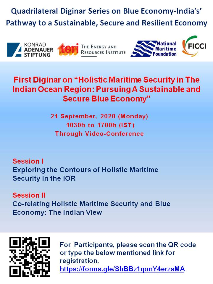 "Quadrilateral Diginar Series on Blue Economy-India's Pathway to a Sustainable, Secure and Resilient Economy First Diginar on ""Holistic Maritime Security in The Indian Ocean Region: Pursuing A Sustainable and Secure Blue Economy"""