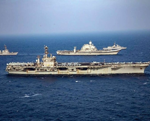 Navies of India, the United States, Japan, and Australia participating in the second phase of the 24th edition of the Malabar naval exercise, in the Arabian Sea