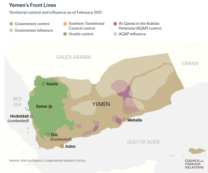 """Fig 6: Territorial Control and Influence (as of Feb 2020) Source: Kali Robinson, """"Yemen's Tragedy: War, Stalemate, And Suffering"""", Council on Foreign Relations, https://www.cfr.org/backgrounder/yemen-crisis"""