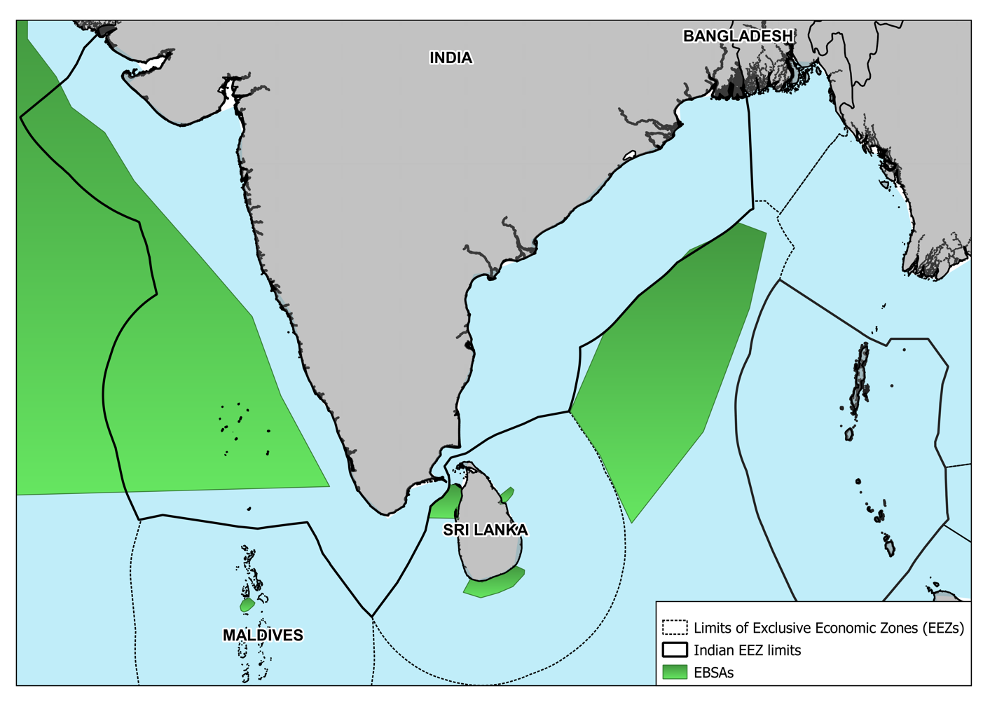"""Figure 1: Ecologically or Biologically Significant Areas (EBSAs) in/ around India's EEZ. Image created by author, Mr Eklavya Tiwary. Data Source: """"Ecologically or Biologically Significant Marine Areas,"""" Convention on Biological Diversity, https://www.cbd.int/ebsa/ebsas and """"Marine Gazetteer Placedetails,"""" Marineregions.org, https://marineregions.org/gazetteer.php?p=details&id=8480."""