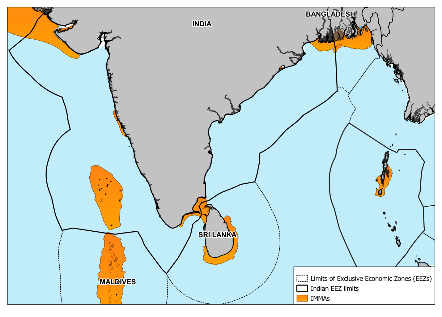 Figure 2: Important Marine Mammal Areas (IMMAs) in/ around India's EEZ. Image created by author, Mr Eklavya Tiwary. Data Source: IUCN MMPATF (2020) Global Dataset of Important Marine Mammal Areas (IUCN-IMMA). December 2020. Made available under agreement on terms and conditions of use by the IUCN Joint SSC/WCPA Marine Mammal Protected Areas Task Force and accessible via the IMMA e-Atlas http://www.marinemammalhabitat.org/imma-eatlas