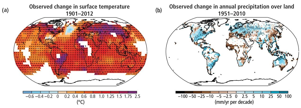Map of the observed surface temperature change, from 1901 to 2012; (b) Map of observed precipitation change, from 1951 to 2010 (IPCC, 2014).
