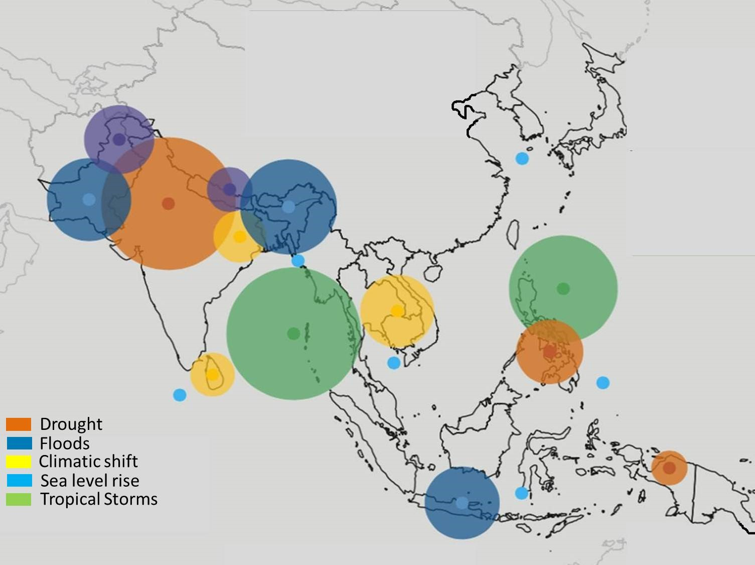 Climate-related risks in Asia Source: modified from Krishnamurthy et al., 2015